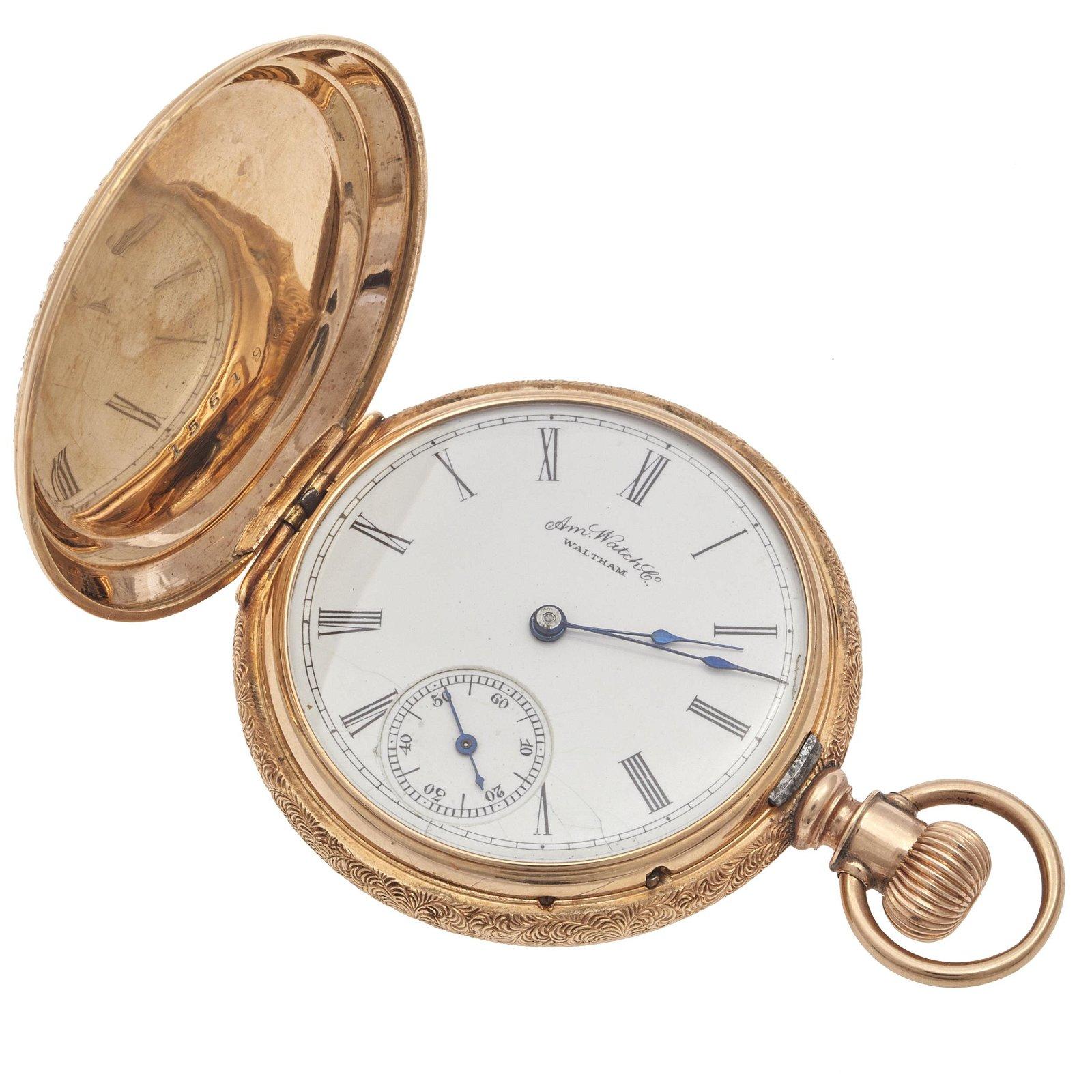 Waltham 10k Rose Gold Hunter Case Pocket Watch