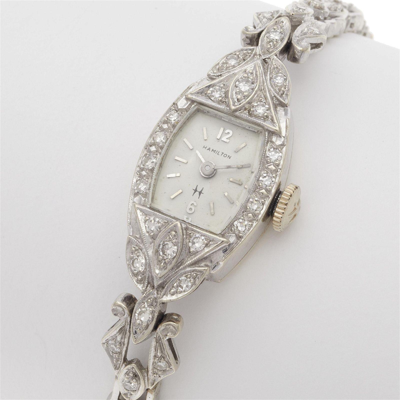 Ladies Hamilton Diamond, 14k White Gold Wristwatch