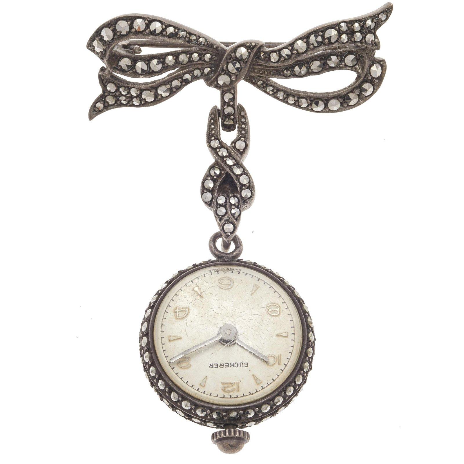 Bucherer Marcasite, Silver Pendant Watch on Pin