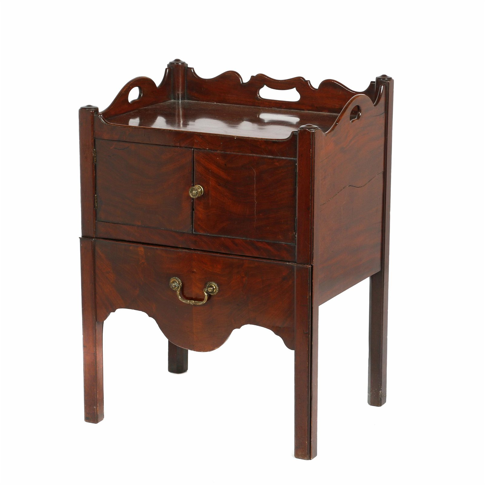 George III Mahogany Bed Side Cabinet