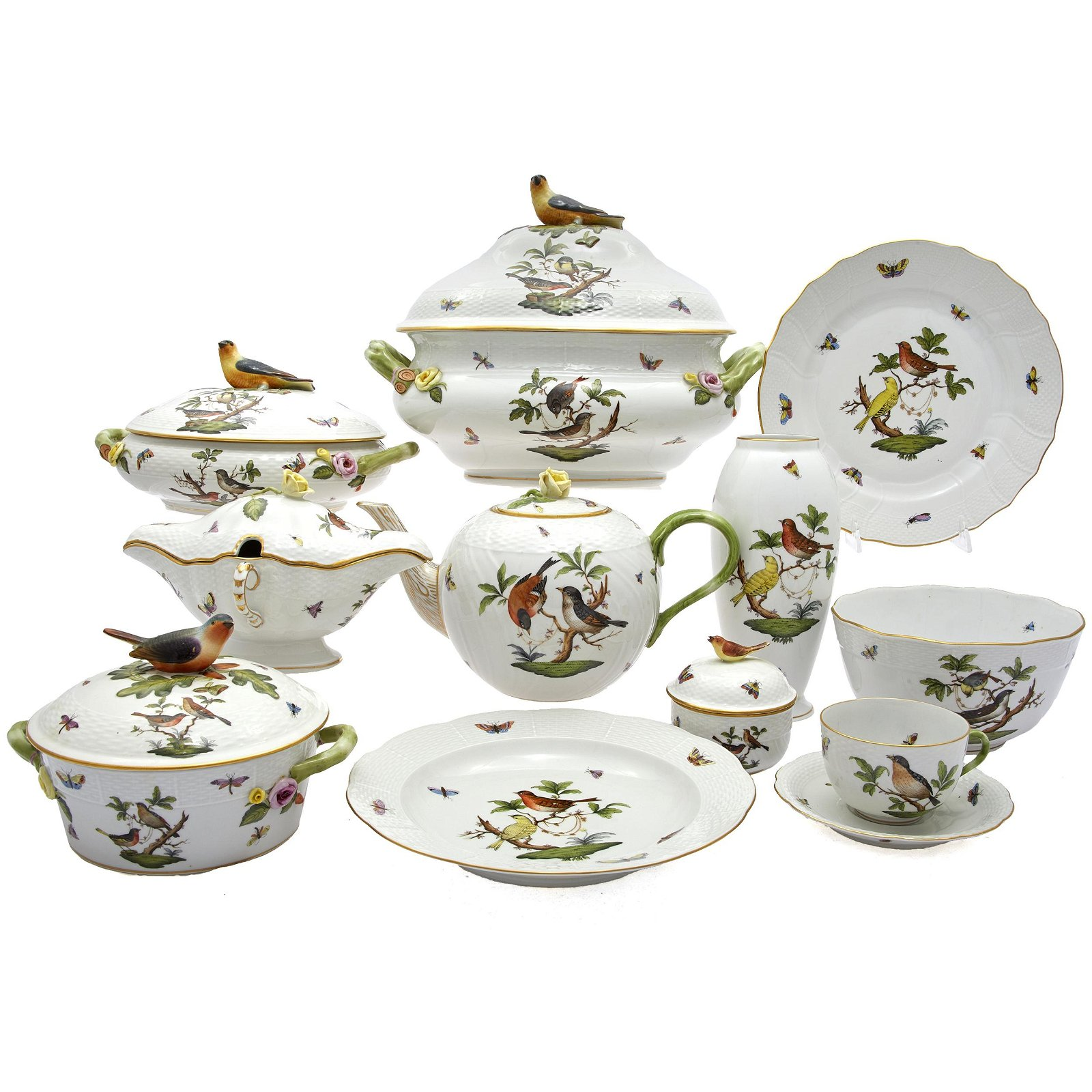 Herend Rothschild Bird Porcelain Table Service