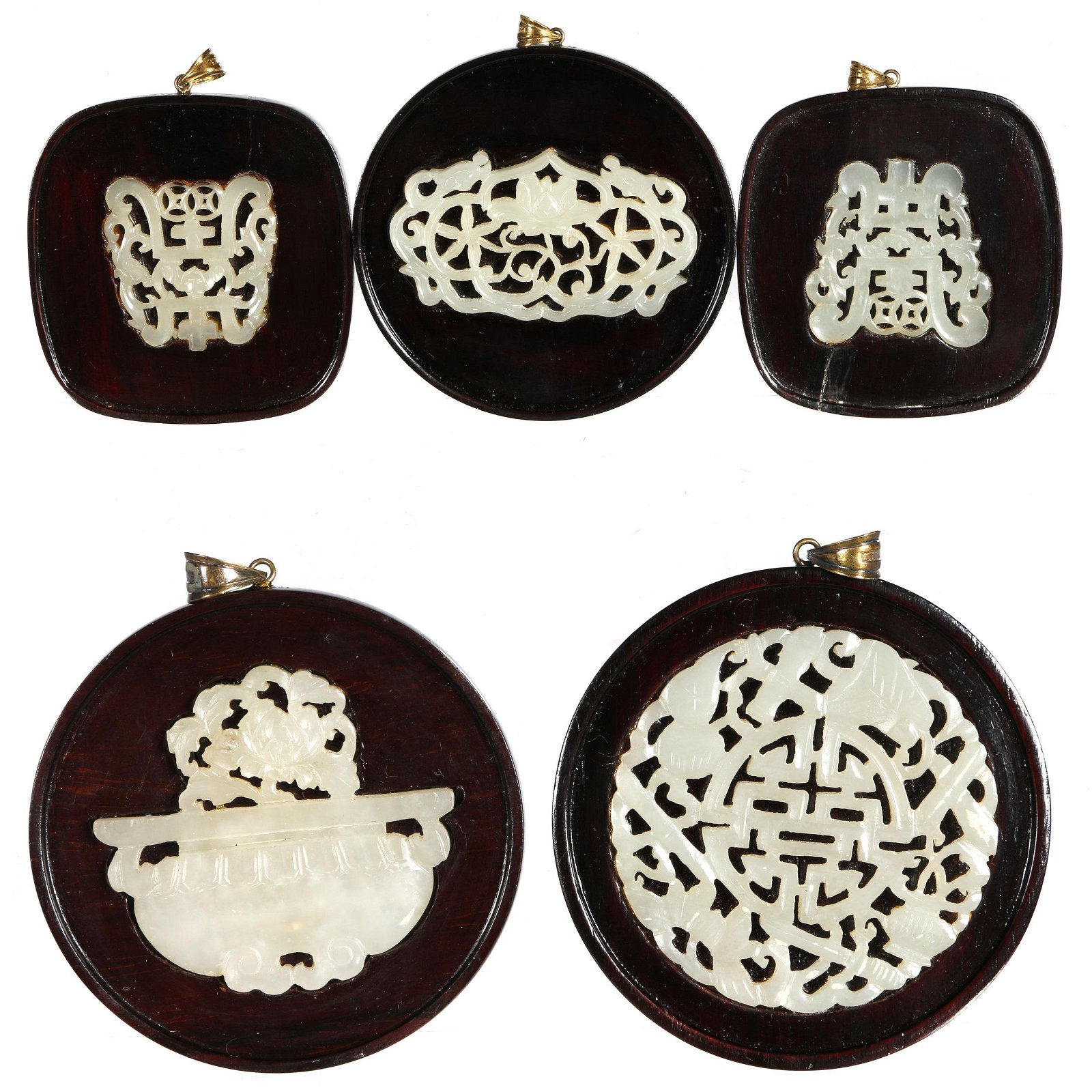 Five Celadon Jade Plaques, Qing Dynasty