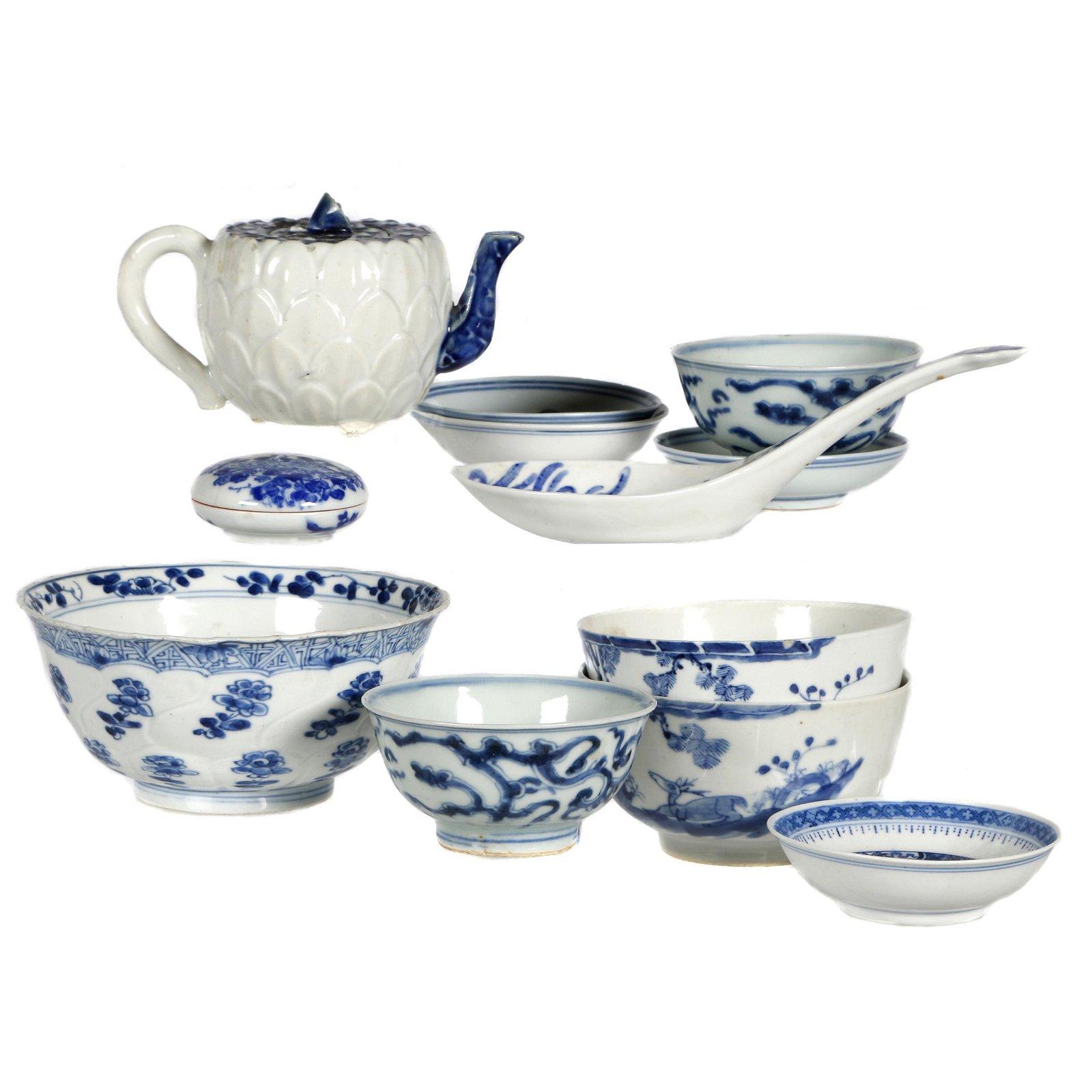 Group of Underglaze Blue Porcelains, Qing dynasty