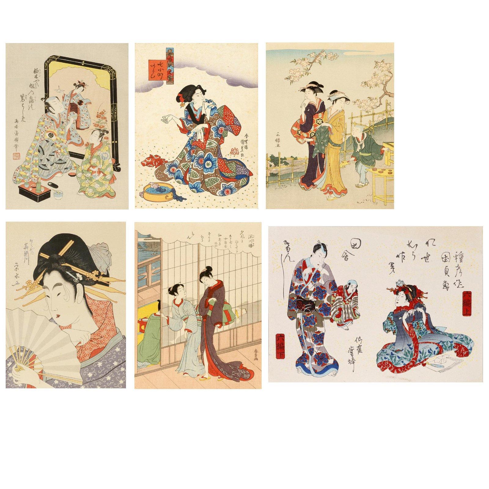 Six Japanese Reproduction Woodblock Prints