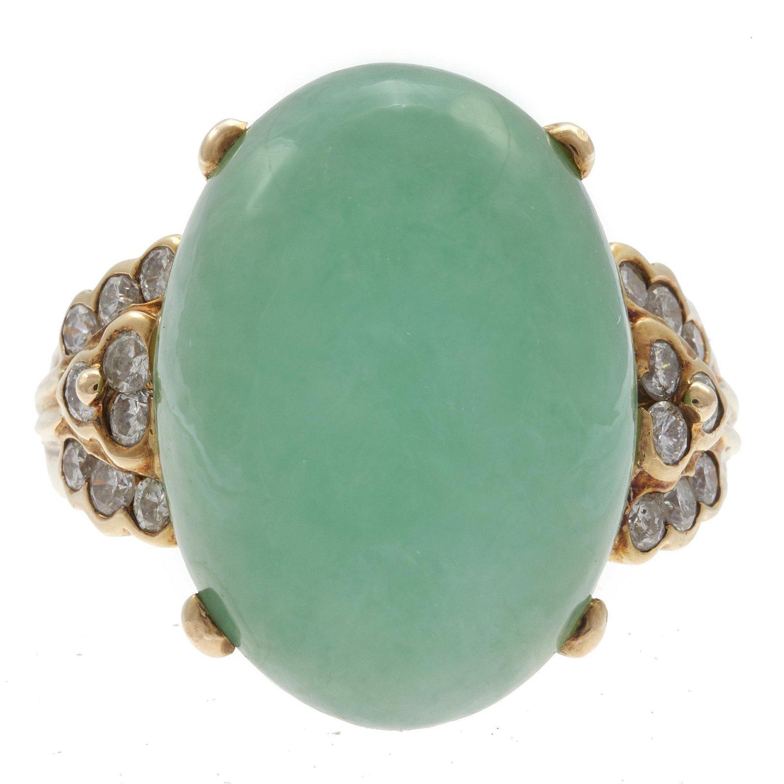 Jade, Diamond, 14k Yellow Gold Ring