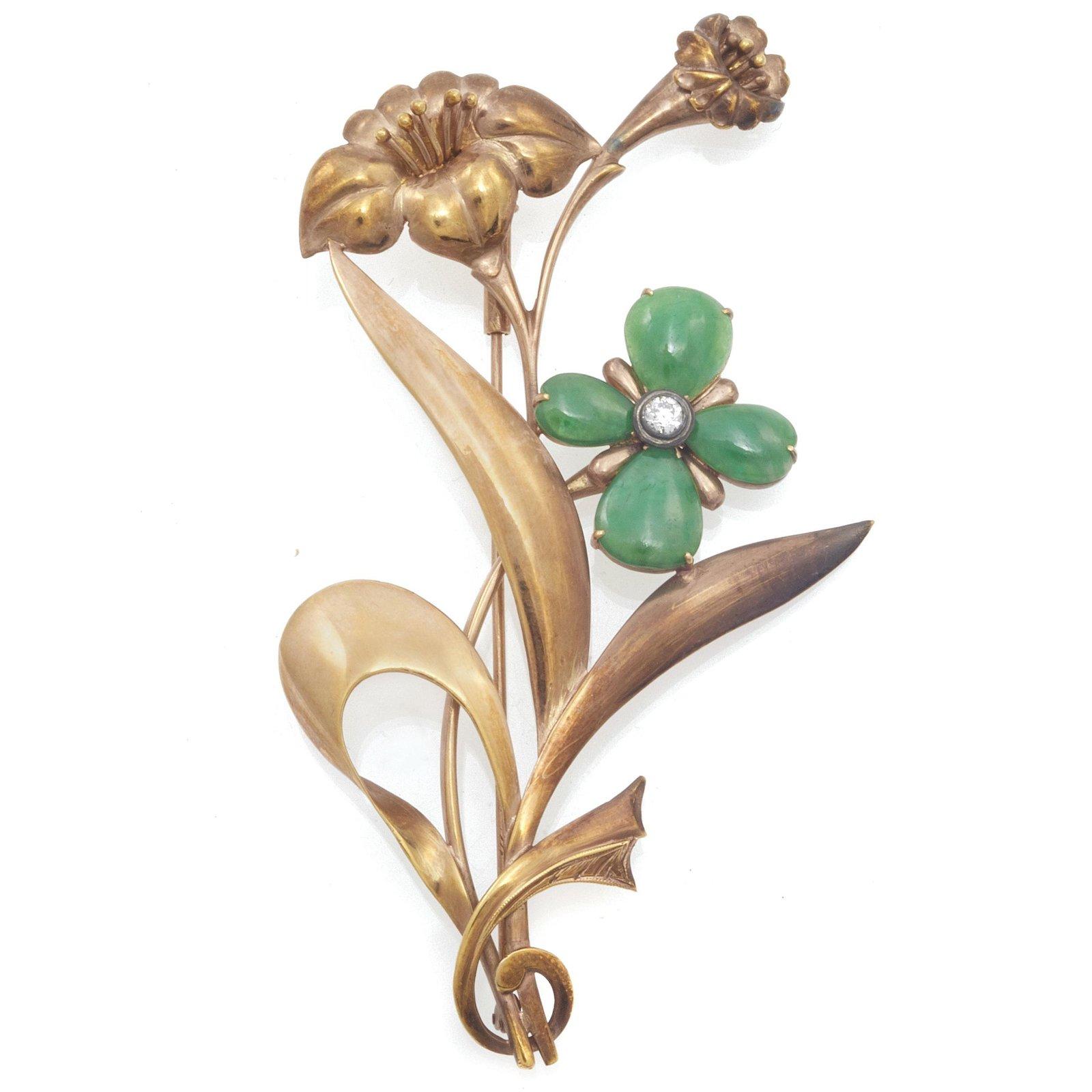 Diamond, Jade, 14k Rose Gold Flower Brooch