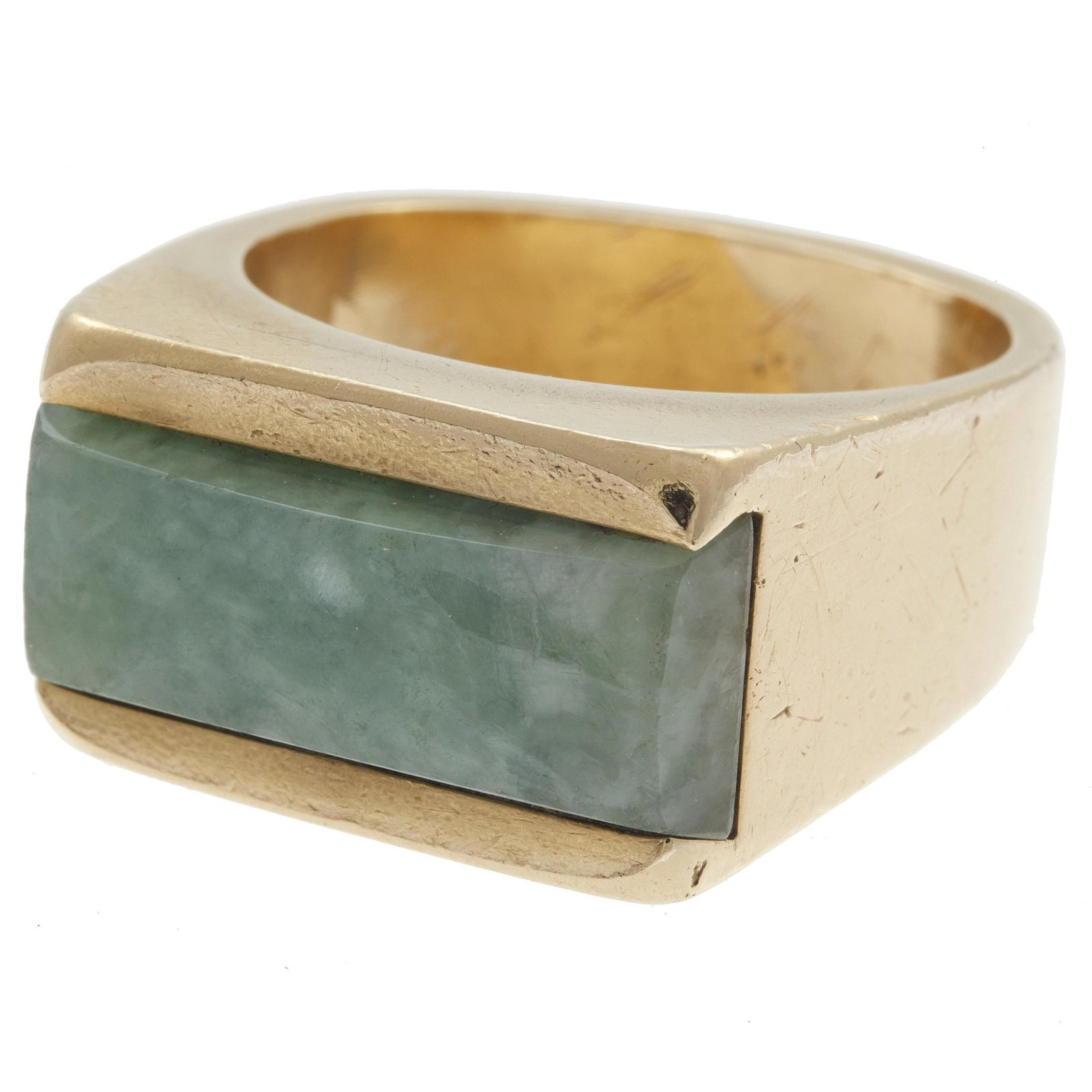 Gent's Jade, 14k Yellow Gold Ring