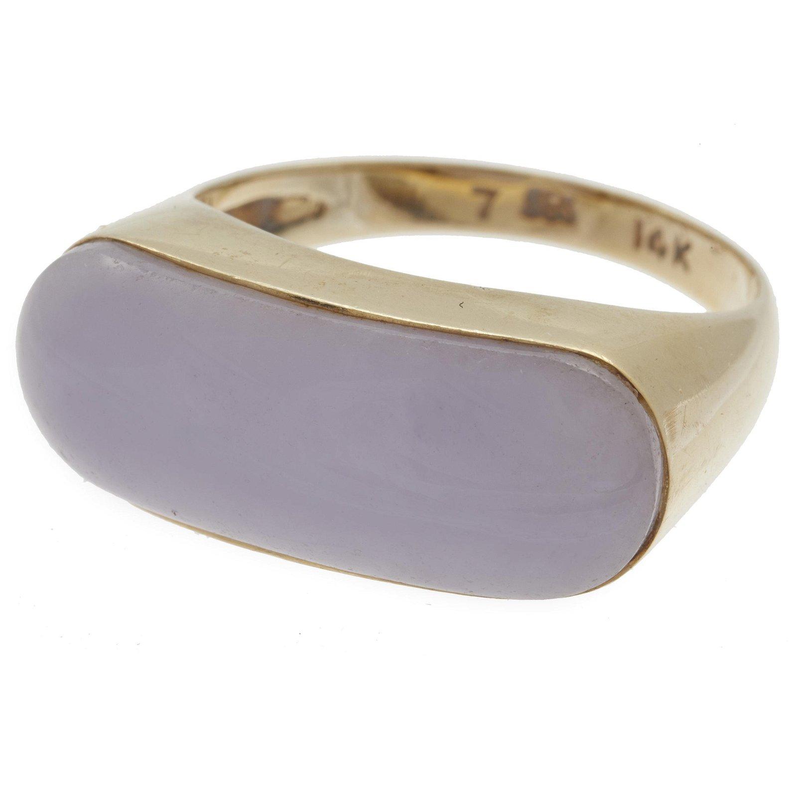 Lavender Jade, 14k Saddle Ring