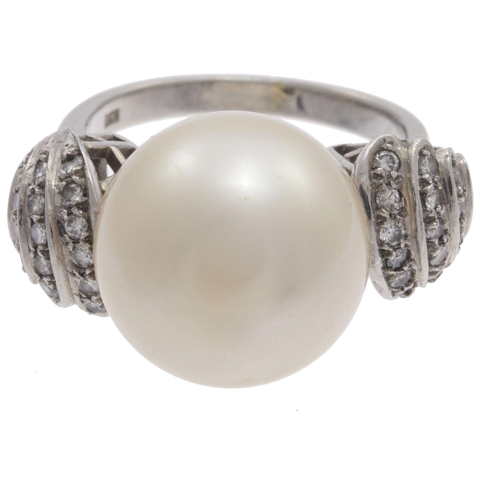 South Sea Cultured Pearl, Diamond, Platinum Ring