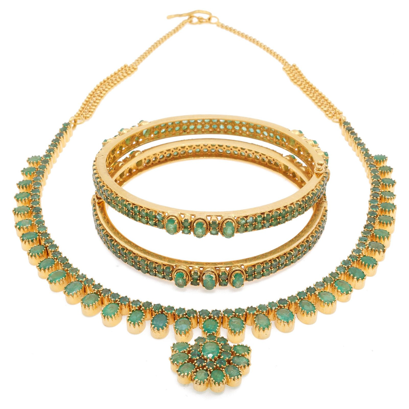 Emerald, 22k Yellow Gold Jewelry Suite