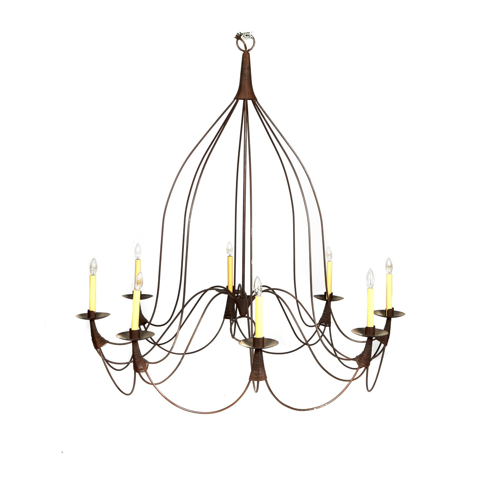 COUNTRY FRENCH WROUGHT IRON TOLE CHANDELIER LIGHTING WITH