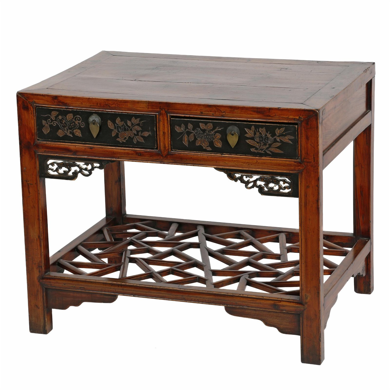 Chinese Inlaid Elm Wood and Ebonized Side Table