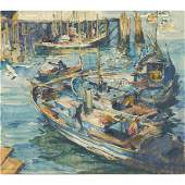 Armin Carl Hansen (American, 1886 - 1957) Harbor Scene
