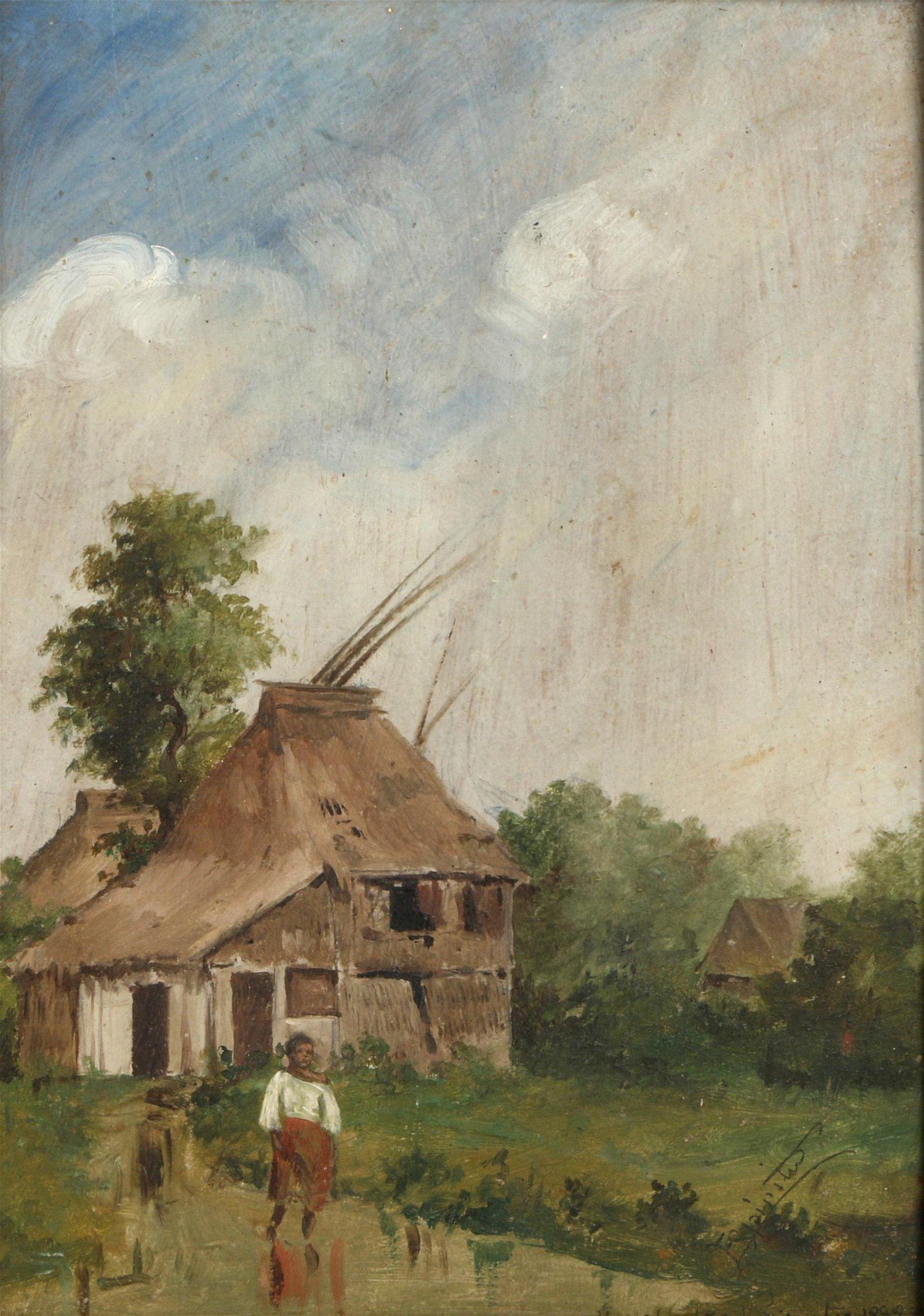 Anselmo Espiritu (Filipino 19th century) Village Scene