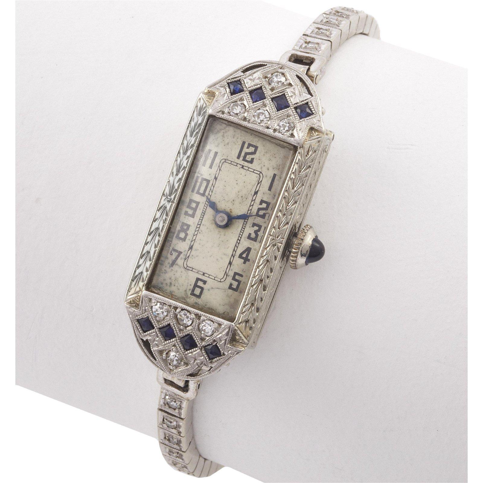 Ladies Art Deco Diamond, White Gold, Platinum Watch