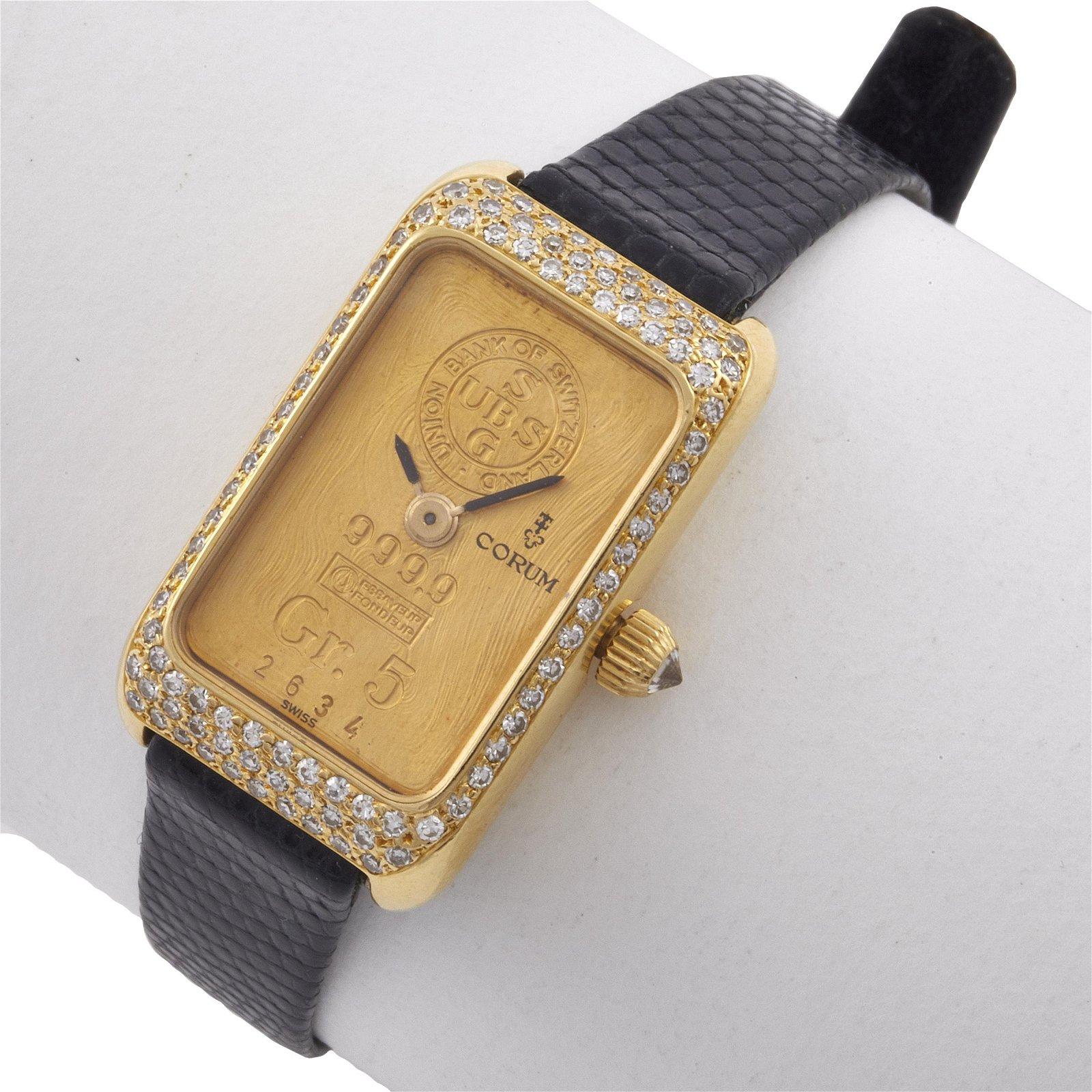 Corum Diamond, Gr. 5 Ingot, 18k Yellow Gold Wristwatch