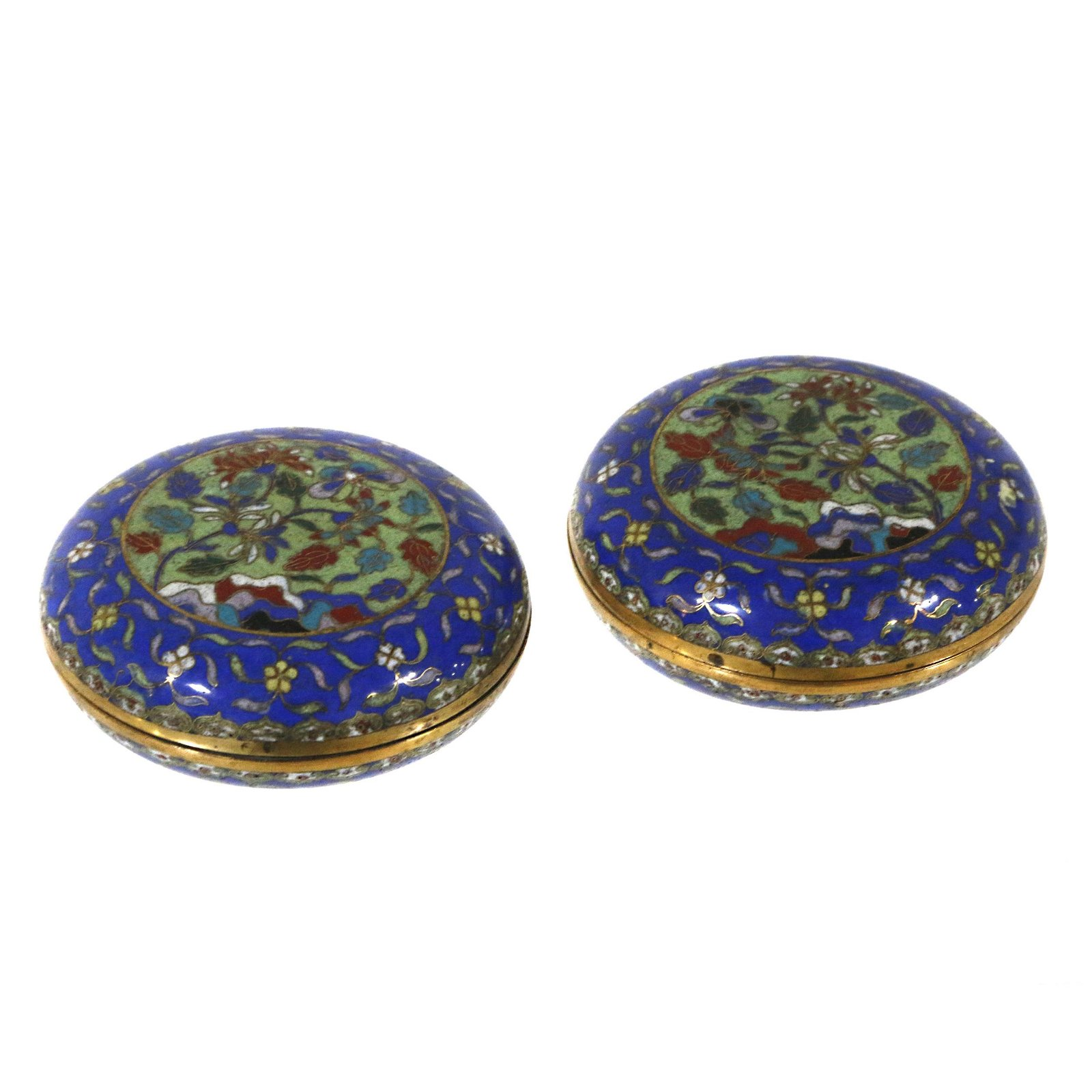 Pair of Cloisonne Enamel Boxes, 19th century