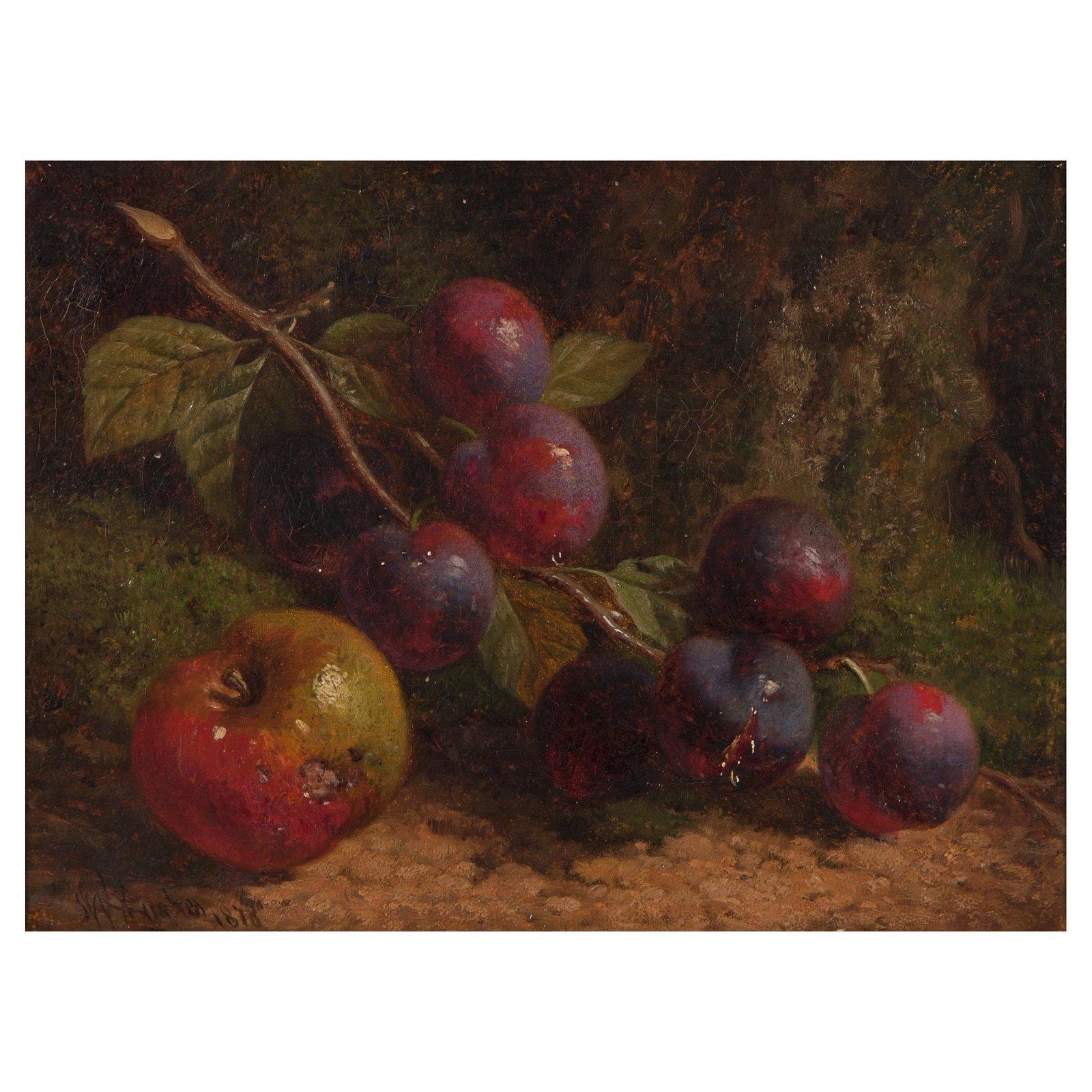 William Hughes, Still Life with Plums and Apple