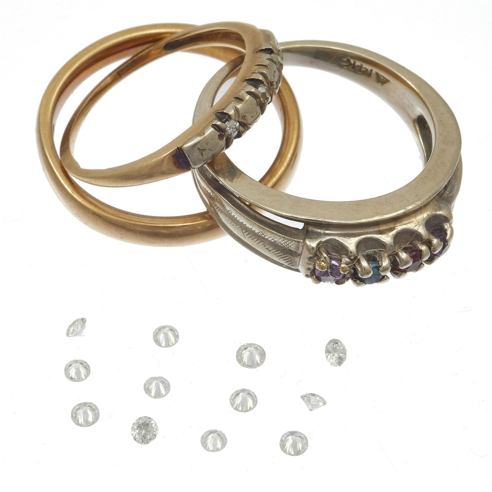 Collection of Three 14k Rings with Unmounted Diamond