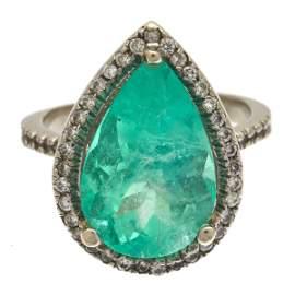 Emerald, Diamond, 18k White Gold Ring