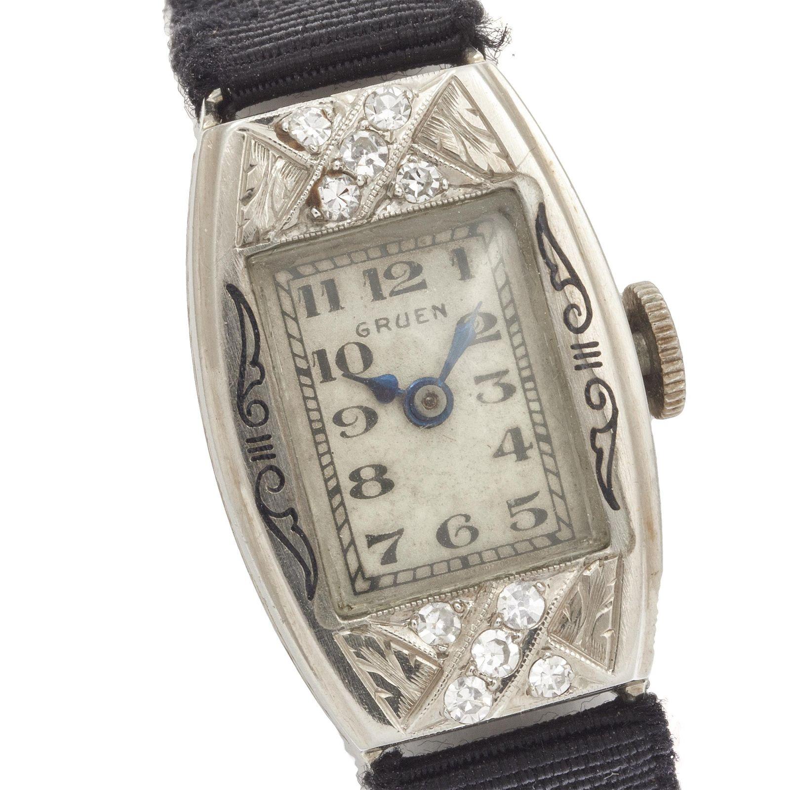 Gruen Art Deco Diamond, 14k White Gold Wristwatch