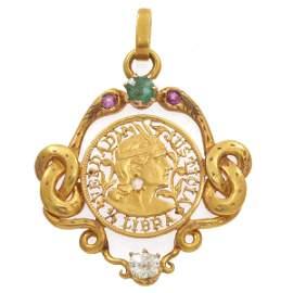 Art Nouveau Diamond, Emerald, Ruby, 18k Pendant