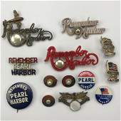 Group of 49 WWII Remember Pearl Harbor Buttons Pins and