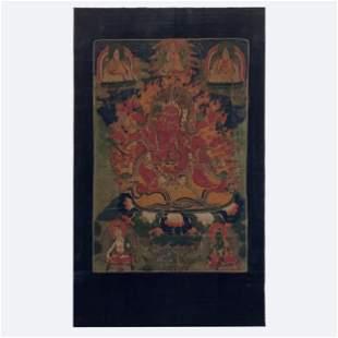 Himalayan Painted Thangka of Mahakala
