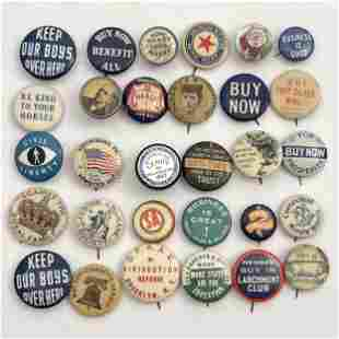 60 Various Subject Antique and Vintage Buttons