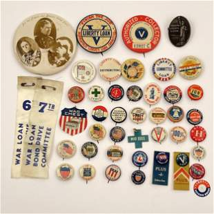 Group of 40 WWI and WWII War Chest Buttons