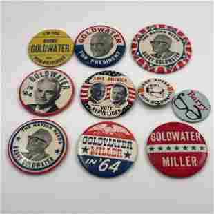 Large Group Barry Goldwater Campaign Buttons and Pins