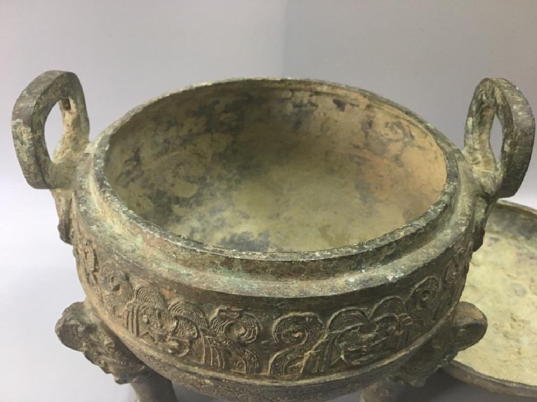 AN ARCHAIC BRONZE CENSER AND COVER - 4