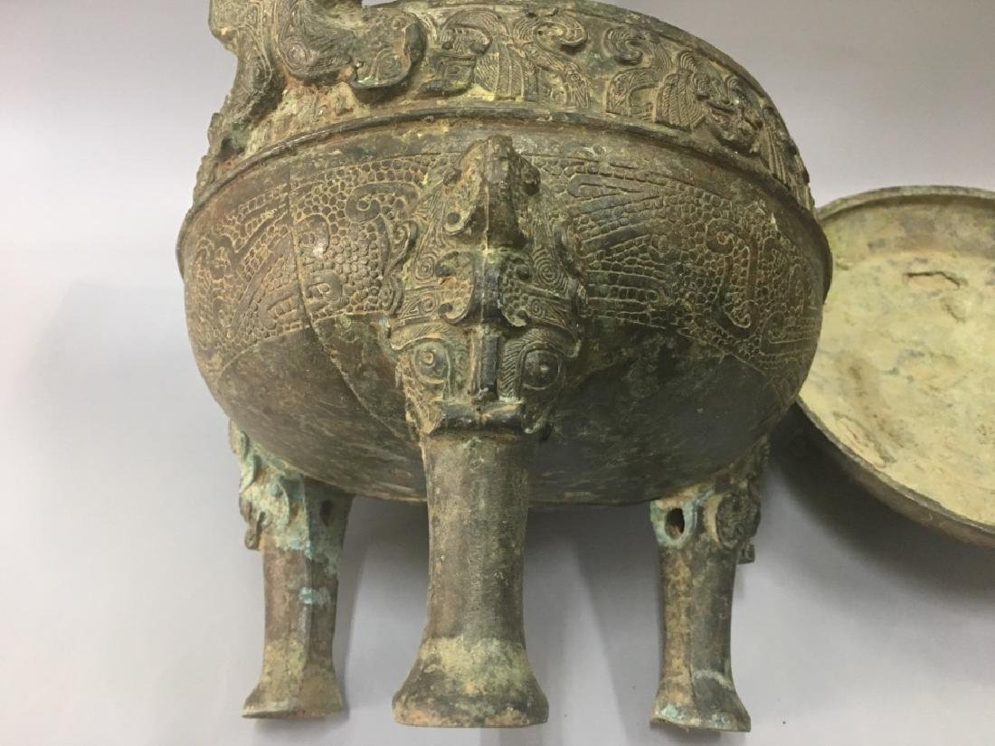 AN ARCHAIC BRONZE CENSER AND COVER - 5