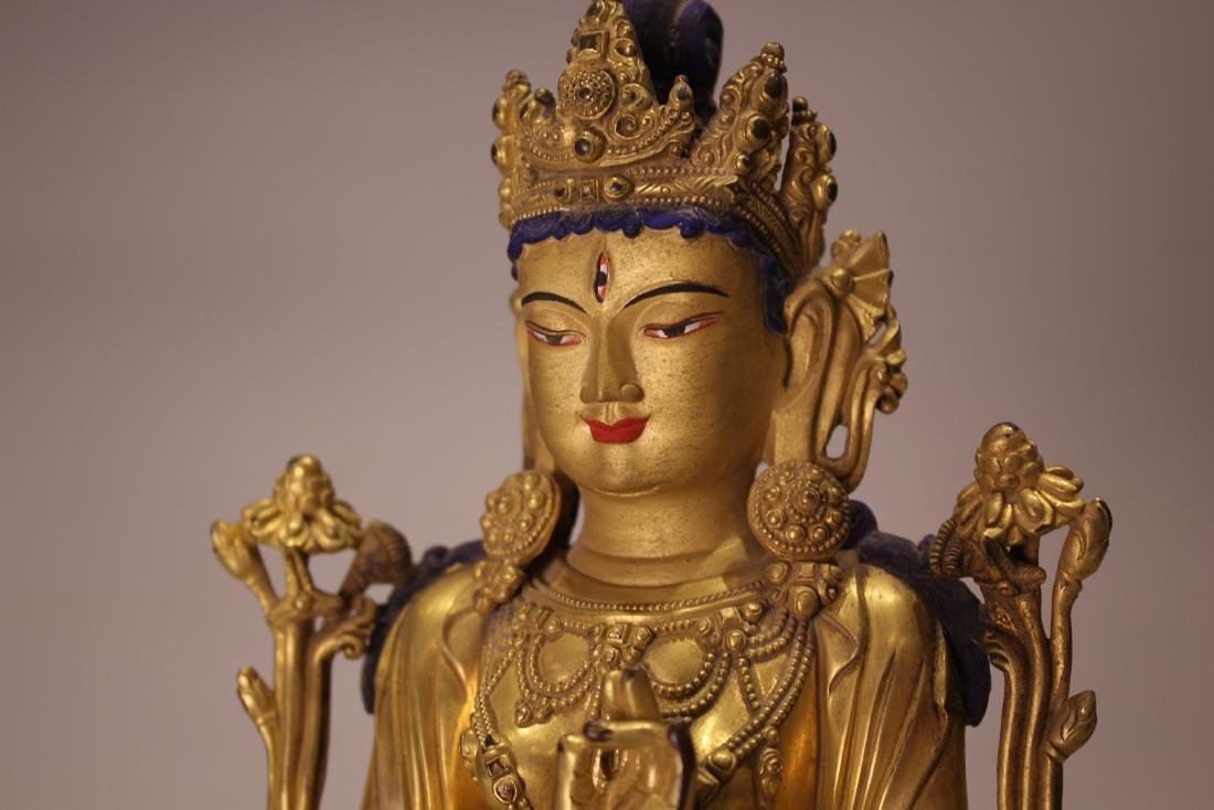 A TIBET GILT BRONZE BUDDHA - 5
