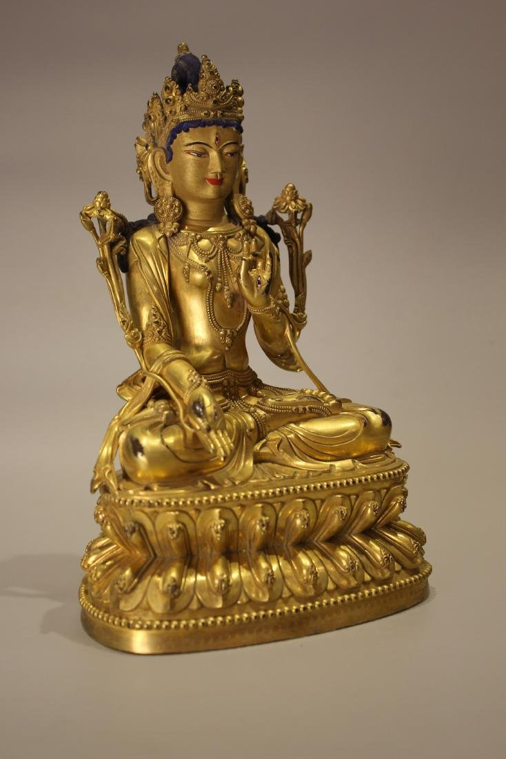 A TIBET GILT BRONZE BUDDHA - 6