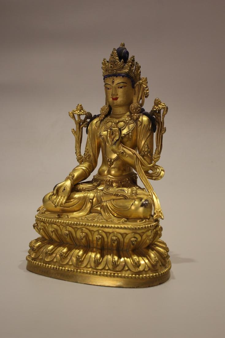 A TIBET GILT BRONZE BUDDHA - 7