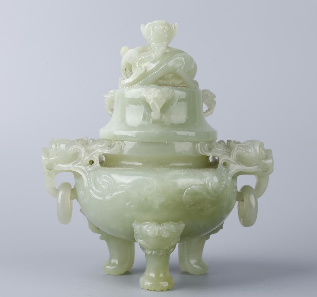 A JADE CENSER AND COVER