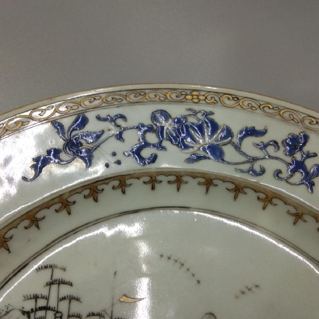 A GILT BLUE AND GRISAILLE PLATE - 4