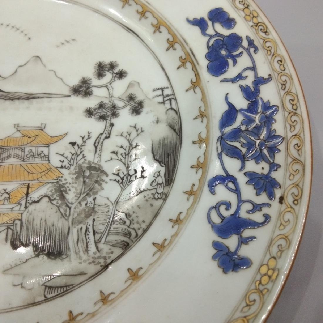 A GILT BLUE AND GRISAILLE PLATE - 6