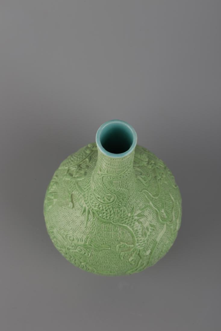 A GREEN GLAZED VASE WITH QIANLONG MARK - 4