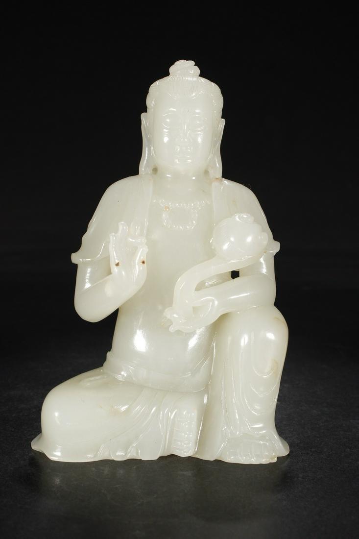 CHINESE CARVED HETIAN JADE BUDDHA