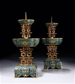 PAIR OF CHINESE CLOISONNE CANDLE STAND