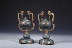 PAIR OF CHINESE CLOISONNE CENSER