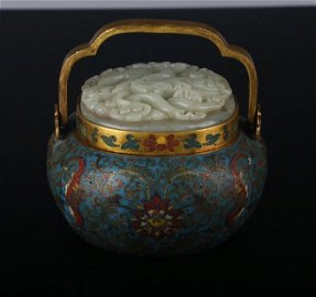 QIANLONG MARK, CHINESE CLOISONNE DECORATED HETIAN JADE