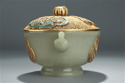 CHINESE CARVED HETIAN JADE DECORATED W/ GILT SILVER