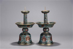 QIANLONG MARK, PAIR OF CHINESE CLOISONNIE CANDEL STAND