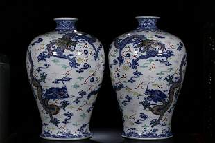 PAIR OF CHINESE BLUE & WHITE DOUCAI VASE