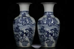 PAIR OF CHINESE BLUE & WHITE VASE