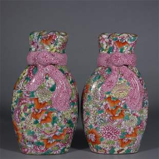 QIANMONG MARK, PAIR OF CHINESE FAMILLE ROSE VASES