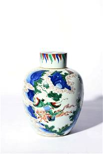 An Underglaze Blue And Wucai Figure Jar